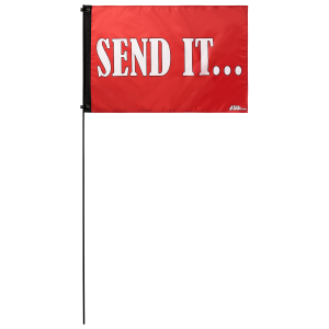 """Send It Red 2' x 3' Safety Flag w/ Black Or White 3/8"""" x 6' Whip"""