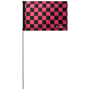 "Pink Checkered 2' x 3' Safety Flag w/ Black Or White 3/8"" x 6' Whip"