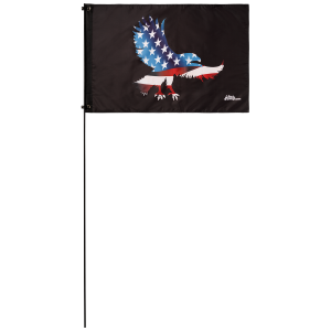 "American Eagle 2' x 3' Safety Flag w/ Black Or White 3/8"" x 6' Whip"