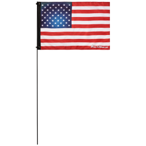 "American Flag USA 2' x 3' Safety Flag w/ Black Or White 3/8"" x 6' Whip"
