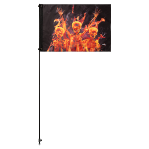 "Party Skulls 2' x 3' Safety Flag w/ Black Or White 3/8"" x 6' Whip"