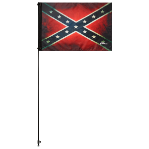 "Old Rebel Confederate 2' x 3' Safety Flag w/ Black Or White 3/8"" x 6' Whip"