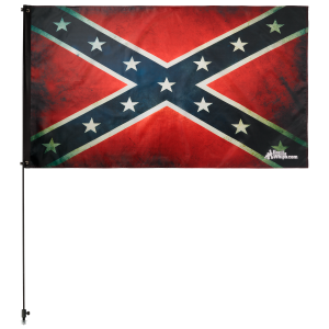 "Old Rebel Confederate 3' x 5' Safety Flag w/ Black or White 3/8"" x 6' Whip"