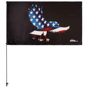 "American Eagle 3' x 5' Safety Flag w/ Black or White 3/8"" x 6' Whip"