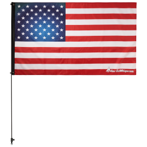 "American Flag USA 3' x 5' Safety Flag w/ Black or White 3/8"" x 6' Whip"