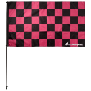 "Pink Checkered 3' x 5' Safety Flag w/ Black or White 3/8"" x 6' Whip"