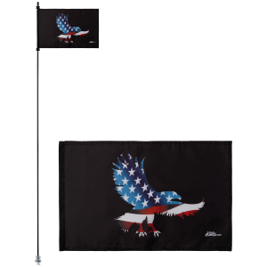 "American Eagle 12"" x 18"" Safety Flag w/ Black Or White 1/4"" x 6' Whip"