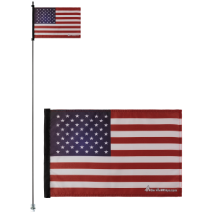 "American Flag USA 12"" x 18"" Safety Flag w/ Black Or White 1/4"" x 6' Whip"